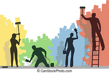 Editable vector silhouettes of four people painting a blank wall different colors with copy space