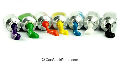 Color paints,on white background