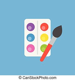 color palate and paintbrush in flat design