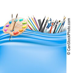 color palette and office supplies and blue silk background. vector illustration