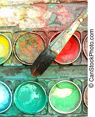 color palette box - Close-up of multicolored well used color...