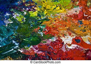 Color palette - close up of a used color palette