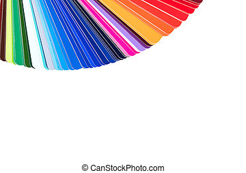 Color palette, color catalog, guide of paint samples isolated on white background