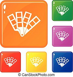 Color palette guide icons set vector color