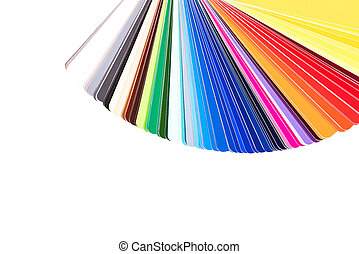 Color palette, guide of paint samples, color catalog isolated on white background