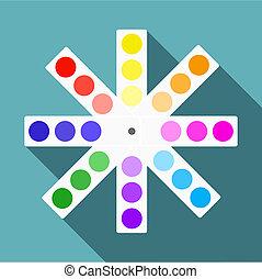 Color palette icon, flat style