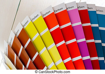 color palette on white wooden background