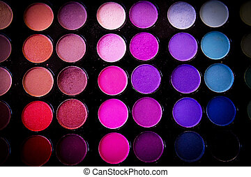 Color palette with eyeshadow powder