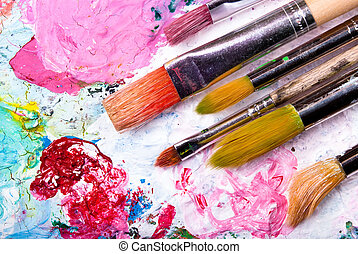 Color palette with many brushes