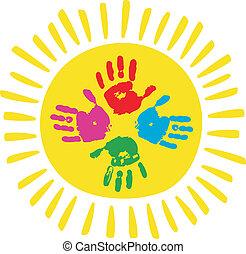 Color palms with sun. Children palms print.
