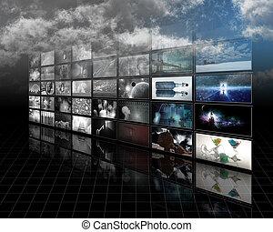color, pantallas, blanco, negro, descolorarse