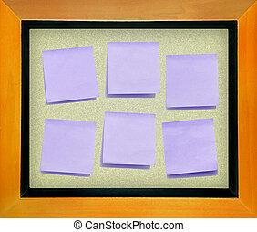 color, papel de nota, en, tablero del corcho, aislado, para,...