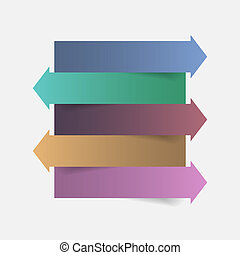 Color paper arrow infographics template design