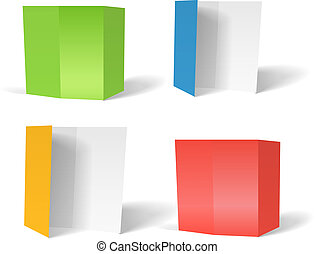 Color paper booklets set vector template