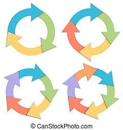 Color paper circular arrows