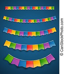 Color paper flags garlands on dark background. Vector clipart