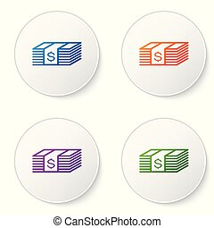 Color Paper money american dollars cash icon isolated on white background. Money banknotes stack with dollar icon. Bill currency. Set color icon in circle buttons. Vector Illustration