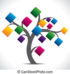 paper note tree - color paper note tree stock vector