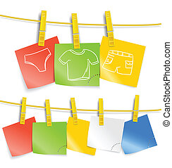 Color paper sheets on rope with pictures