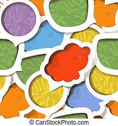 Color paper speech clouds vintage style