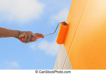 color, pared, pintura, rodillo, naranja