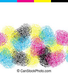 color, patrón, seamless, fingerprints.