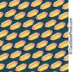 Color pattern of hot dogs on a dark green background
