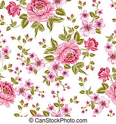 color, pattern., peonía, lujoso