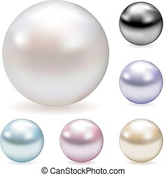 Color pearls - Vector collection of color pearls isolated on...