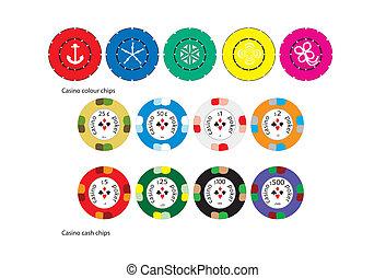 color, pedacitos del casino, efectivo