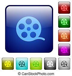 color, película, cuadrado, rollo, botones