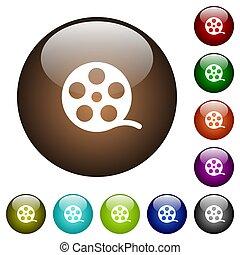 color, película, rollo, vidrio, botones
