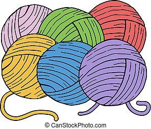 color, pelotas, de, lana