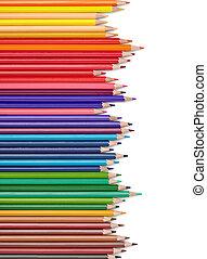 color pencil draw art school educaation - close up of color...
