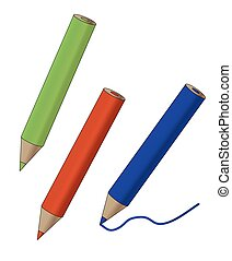 color pencil drawing illustration simple flat icon with red blue and green gradient