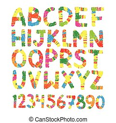 Color pencil font. Hand drawn letters,