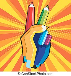 Color pencil hand