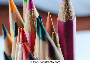 color pencil in row