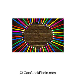 Color pencil on wooden background.