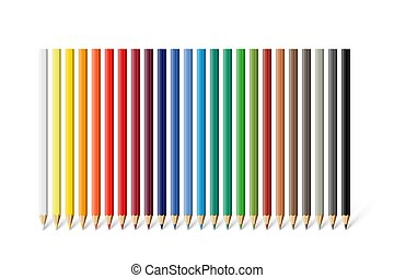 Color pencil set. Vector different color pencils isolated on white background.
