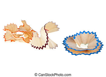 Color pencil shavings isolated on white background