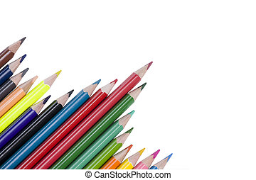 color pencil with copy space isolated on whtie background
