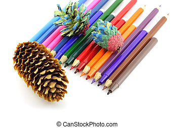 Color pencils and felt-tip pen with forest cones