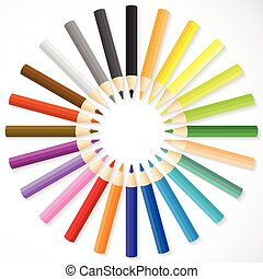 Color pencils arrange in circle on white background