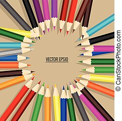 Color pencils background, vector illustration.