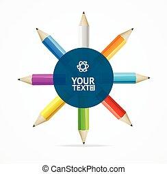 Color Pencils Circle Background. Vector