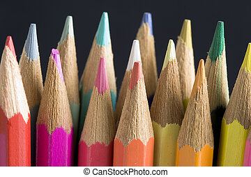 Color pencils - color pencils over black background
