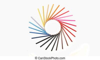 Color pencils forming a circle