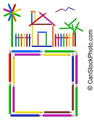 Color Pencils Frame - Illustration of a house, garden and a...