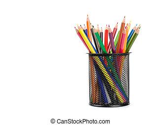 color pencils in a pail